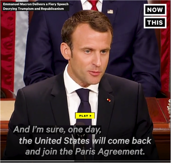 climate diplomacy change emmanuel macron trump visit in usa